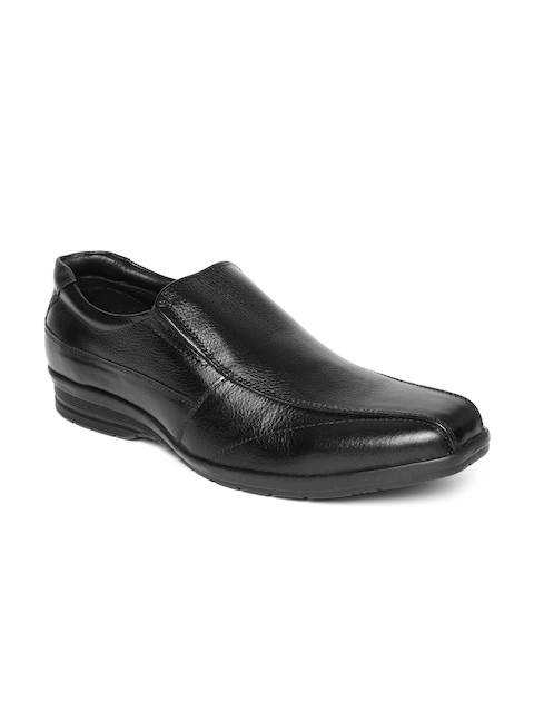 Bata Men Black Leather Formal Slip-Ons