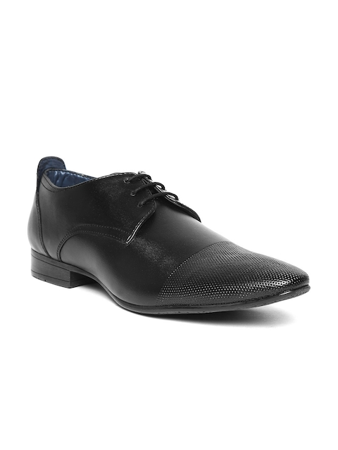 Bata Men Black Formal Derbys with Textured Detail