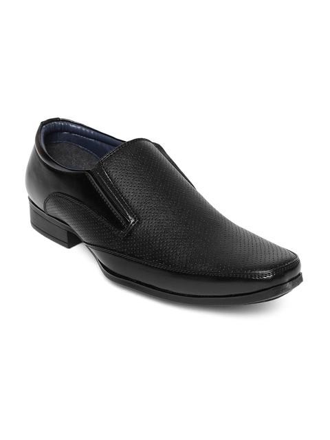 Bata Men Black Textured Formal Slip-Ons