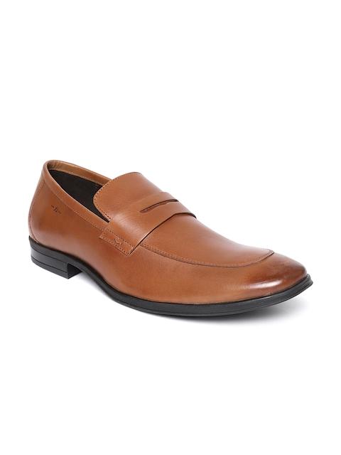 Bata Men Brown Leather Formal Slip-Ons
