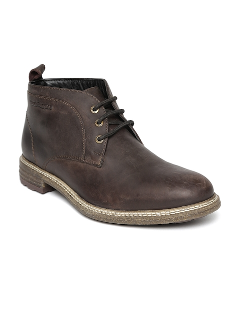 Hush Puppies Men Coffee Brown Solid Leather Mid-Top Flat Boots