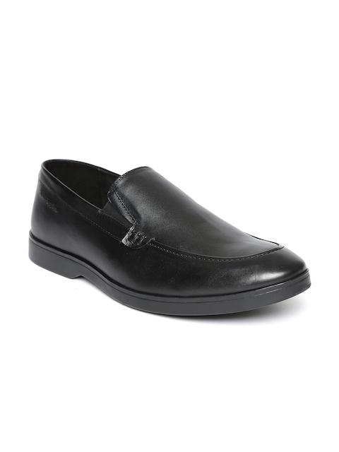 Hush Puppies Men Black Leather Semiformal Slip-Ons