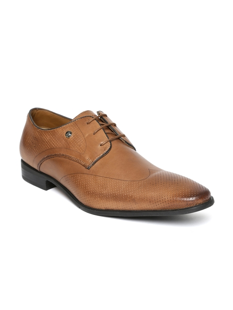 Hush Puppies Men Tan Brown Leather Perforated Formal Derbys