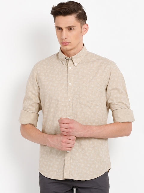 Indian Terrain Men Beige Regular Fit Printed Casual Shirt