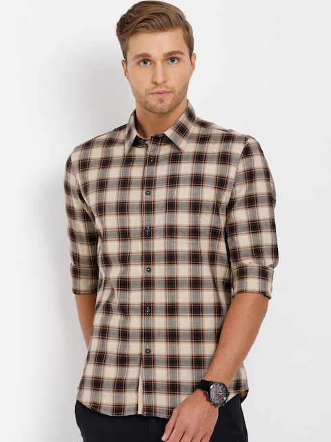 Indian Terrain Men Beige & Brown Slim Fit Checked Casual Shirt