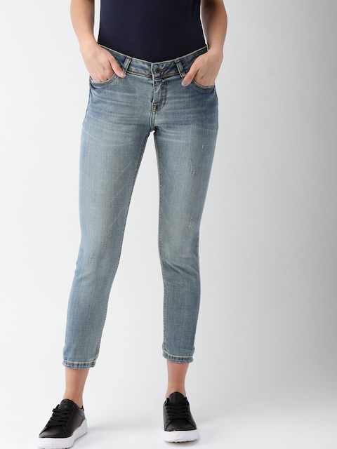 Superdry Women Blue Skinny Fit Mid-Rise Low Distress Jeans
