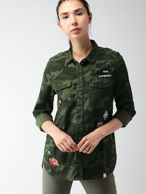 Superdry Women Olive Green Regular Fit Printed Casual Shirt