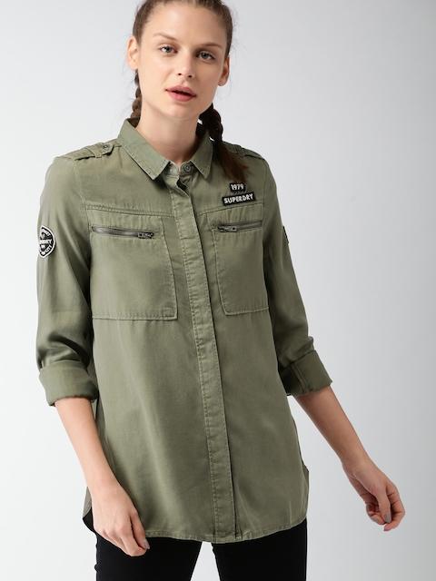 Superdry Women Khaki Regular Fit Solid Casual Shirt