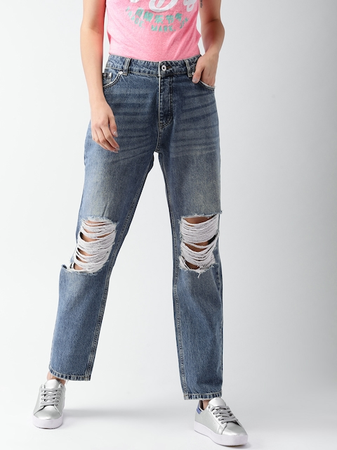 Superdry Women Blue Regular Fit Mid-Rise Highly Distressed Jeans