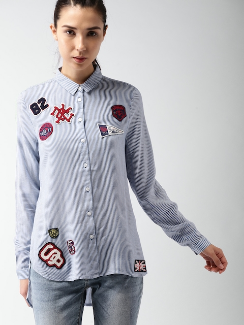 Superdry Women White & Blue Regular Fit Striped Casual Shirt