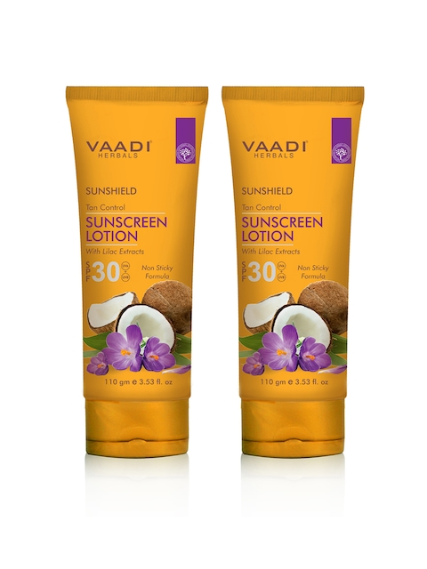 Vaadi Herbals Unisex Pack of 2 Tan Control Lilac Extract SPF 30 Sunscreen Lotion 110 ml