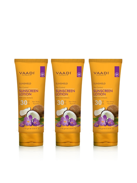 Vaadi Herbals Unsiex Pack of 3 SPF-30 with Lilac Extract Sunscreen Lotion 110 g each