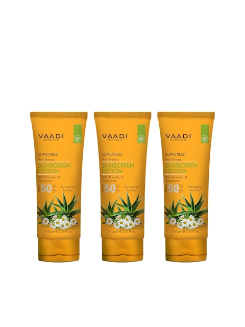 Vaadi Herbals Unisex Pack of 3 SPF-50 Sunscreen Lotion With Aloe Vera & Chamomile