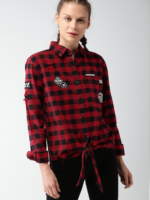 Superdry Women Red & Black Regular Fit Checked Casual Shirt