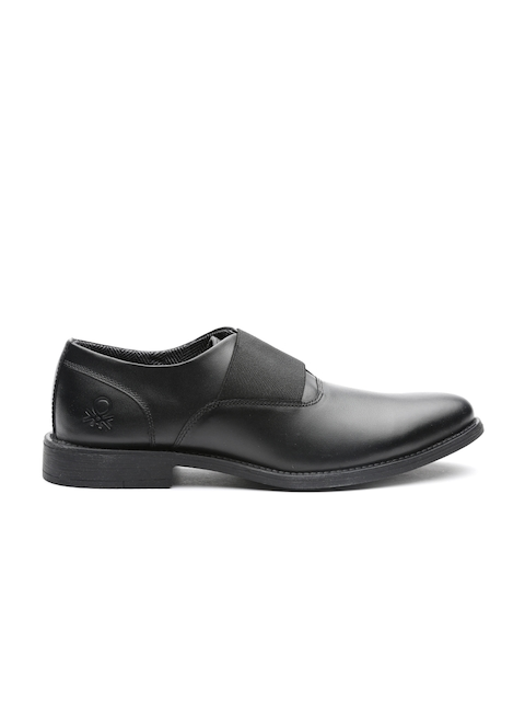 United Colors of Benetton Men Black Leather Slip-Ons