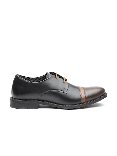 United Colors of Benetton Men Black Leather Smart Casual Derbys