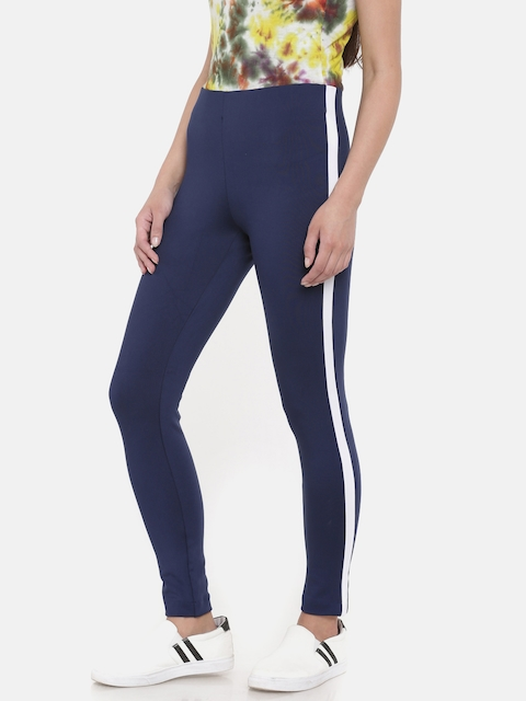 Go Colors Women Navy Blue Solid Ankle-Length Jeggings