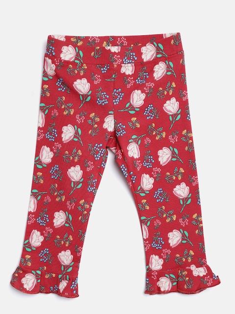 United Colors of Benetton Girls Red Floral Print Leggings