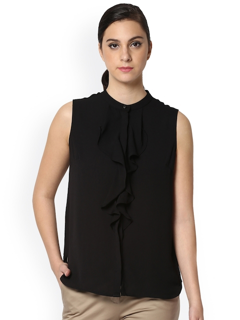 Van Heusen Woman Women Black Solid Ruffled Shirt Style Top