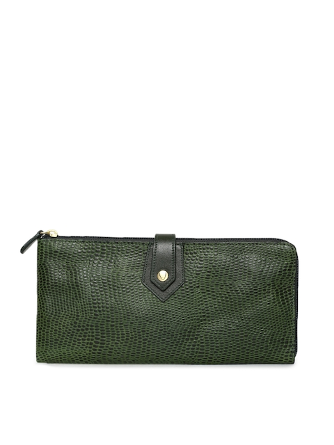 Hidesign Women Green Textured Zip Around Wallet
