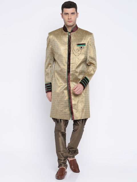 Manish Creations Men Cream-Coloured & Bronze Toned Sherwani