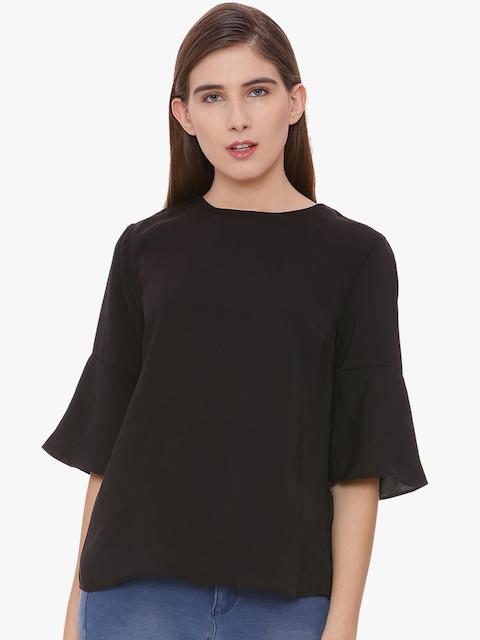 Van Heusen Woman Black Solid A-Line Top