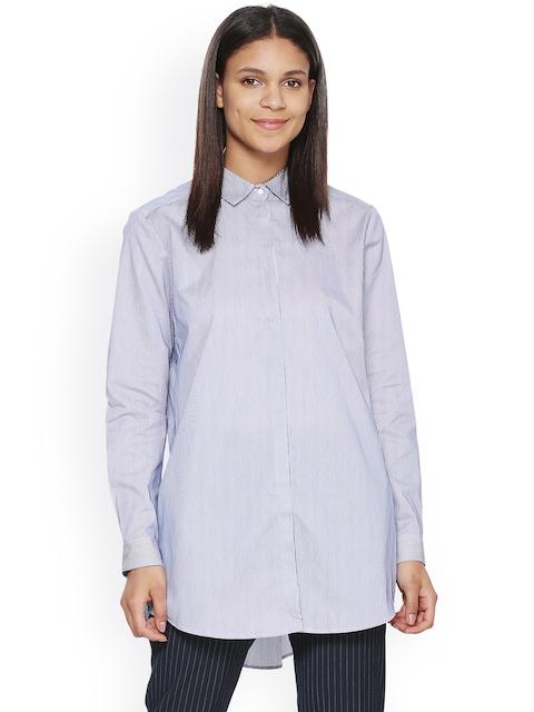 Van Heusen Woman Women Blue Striped Casual Shirt