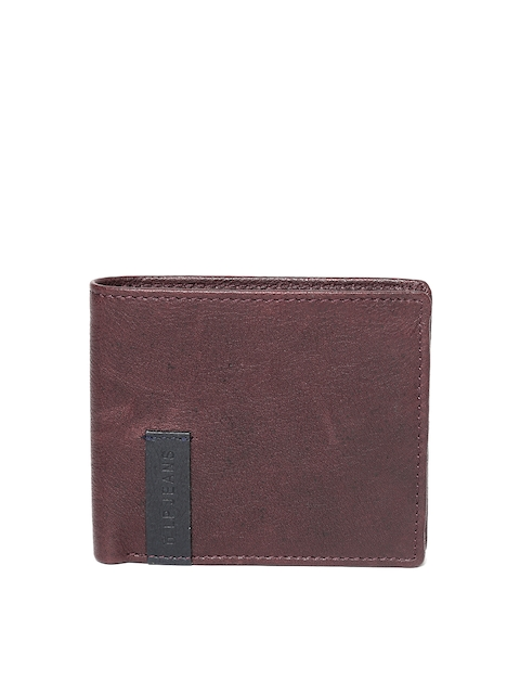 Louis Philippe Men Burgundy Genuine Leather Two Fold Wallet