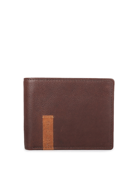 Louis Philippe Men Brown Solid Two Fold Wallet
