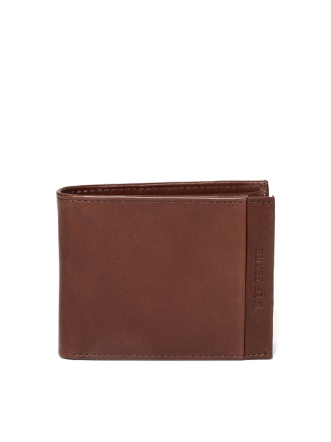 Louis Philippe Men Brown Solid Genuine Leather Two Fold Wallet