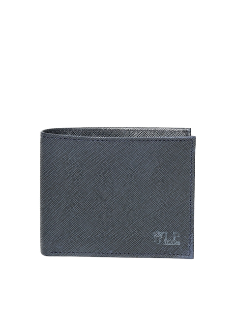 Louis Philippe Men Navy Blue Textured Genuine Leather Two Fold Wallet
