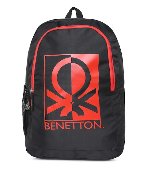 United Colors of Benetton Unisex Black & Red Brand Logo Backpack