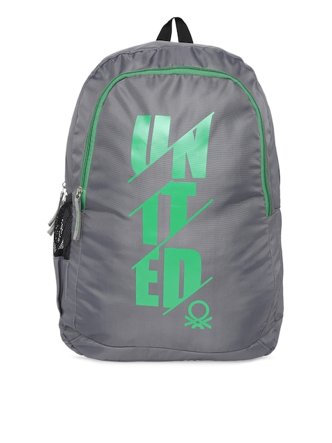 United Colors of Benetton Unisex Grey & Green Brand Logo Backpack