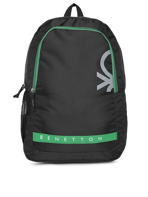 United Colors of Benetton Unisex Black & Green Brand Logo Backpack