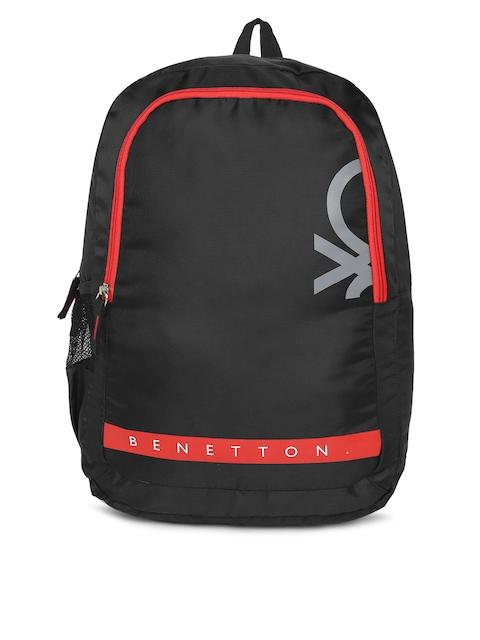 United Colors of Benetton Unisex Black & Red Brand Logo Backpack