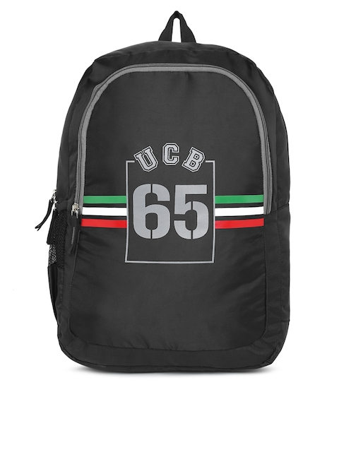 United Colors of Benetton Unisex Black Brand Logo Backpack