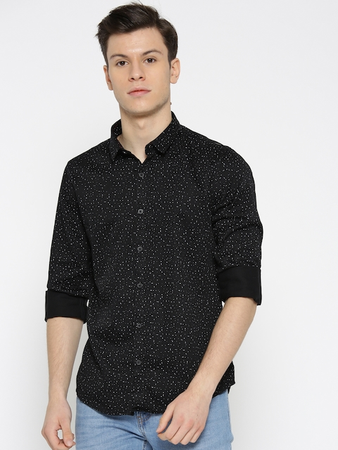 SPYKAR Men Black Regular Fit Printed Casual Shirt