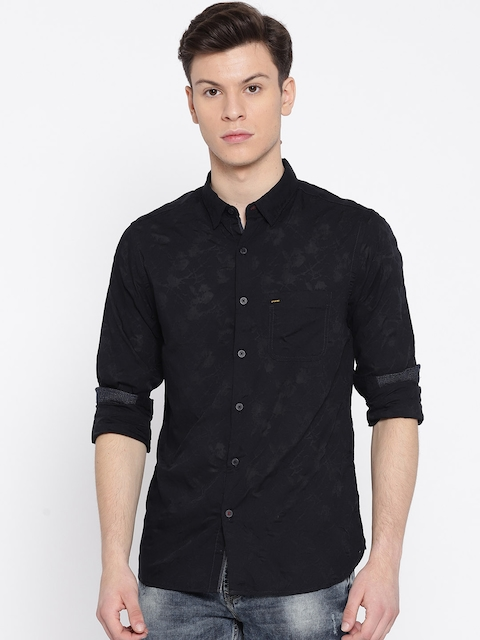 SPYKAR Men Black & Navy Blue Slim Fit Burnout Effect Casual Shirt