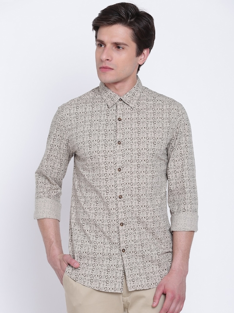 SPYKAR Men Beige & Olive Green Regular Fit Printed Casual Shirt
