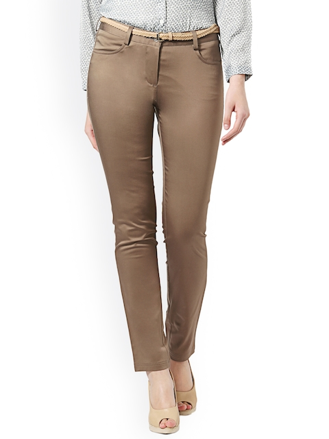 Allen Solly Woman Women Brown Regular Fit Solid Chinos