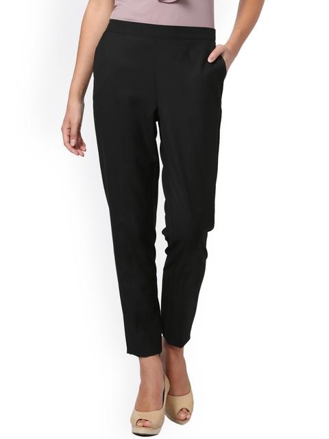 Allen Solly Woman Women Black Regular Fit Solid Cigarette Trousers