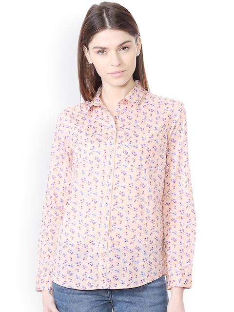 Allen Solly Woman Women Peach-Coloured Regular Fit Printed Casual Shirt