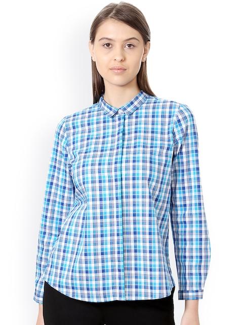 Allen Solly Woman Women Blue Regular Fit Checked Formal Shirt