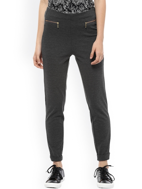 Allen Solly Woman Women Grey Regular Fit Solid Regular Trousers