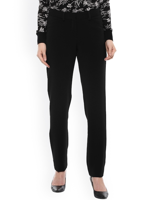 Allen Solly Woman Women Black Regular Fit Solid Cigarette Trousers