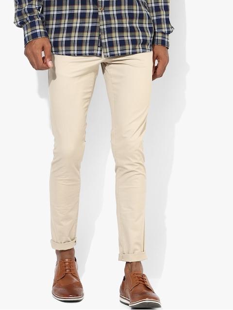 Jack & Jones Men Beige Regular Fit Solid Smart Casual Trousers