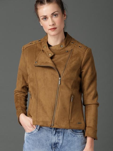 Roadster Women Tan Brown Solid Biker Jacket