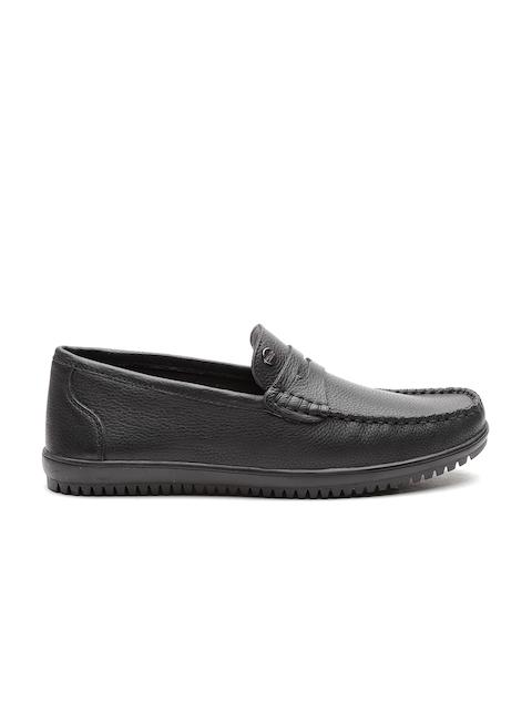 Carlton London Men Black Leather Smart Casual Loafers