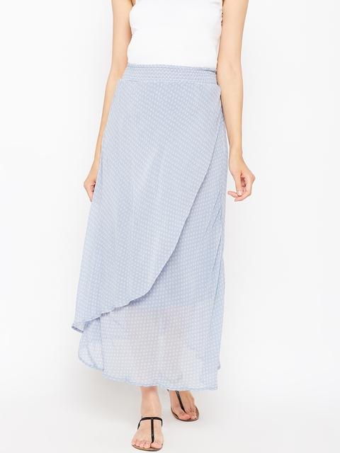 Oxolloxo Women Blue Geometric Print Maternity Maxi Skirt