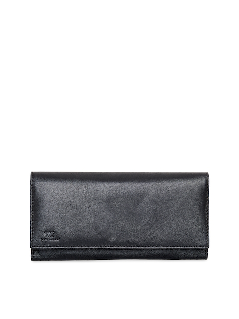 Aditi Wasan Women Black Solid Leather Two Fold Wallet